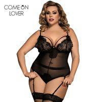 Vücut Femme Seksi Teddy Sheer Mesh Lady Bodysuit Artı Boyutu Şeffaf Seksi Bodysuit Dantel Kadın Vücut Suit Tulum RE80266 210720