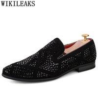 Dress Shoes Party Men Crystal Black Loafers Mens Designer Coiffeur 2021 Slip Rhinestone For Formal