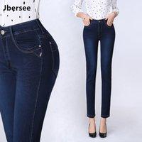 Jbersee Spring осень женские прямые джинсы стрейч высокая талия джинсы 9 баллов джинсы женщина большой размер джинсовые брюки брюки 210222