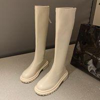Boots 2021 Casual Women Beige Brown Low Heels Knee Thigh High Soft Leather Platform Cowboy Winter Designer Punk Long
