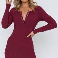 Neue 2021 Herbst Damen Kleid Sexy V-Ausschnitt Langarm Strickmasse Einteiliges Minikleid Mode Dünne Feste Farbkleider