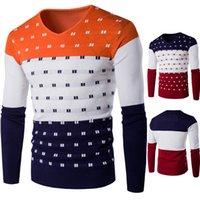Slim V-образным вырезом мужской тонкий донный свитер пуловерный цвет соответствует мужской футболке