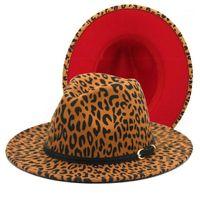 حافة واسعة القبعات فيدوراس الأحمر أسفل leapord نمط فيدورا سيدة محفظة الأزياء أعلى قبعة الجاز للنساء فيل