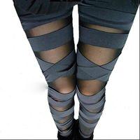 Bandage Charming Leggins Slim Punk Womens Legging Legins Sexy Splicing Pants Stretch Black Trousers Patchwork
