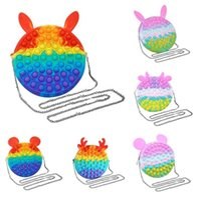 Rainbow Macaroon Fidget Bubble Chain Bag Purses Kids Boy Girls Novel Cool Design Crossbody Fanny Pack Push Pop Sensory Puzzle Toy