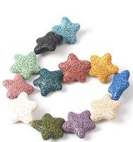 Moda Chapado en oro Estrella de Estrella de Estrella de Estrella Lava Collar de Piedra Esencial Difusor de aceite Volcánico PS0952