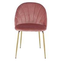 Роскошный дизайн Современный стиль Другие мебели Розовые бархатные Обитыми удобные Спинги Металлические ножки Акцентная столовая стул