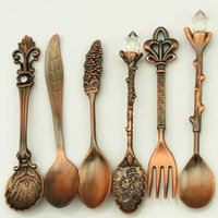 Vintage 6 Piece Cutlery Set Fruit Fork Metal Coffee Spoon Soup Spoon Home Deluxe Cutlery Set Convenient And Practical
