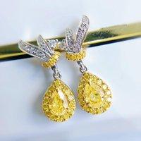 Dangle & Chandelier Luxury Real 925 Sterling Silver Earrings Lovely Bling Yellow Zircon Crystal Drop Earring For Girls Party Gift Jewelry