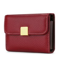 Card Holders High Quality Cowhide Business Holder Cow Leather Short Wallet Casual Solid Id Multi Slots Porte Carte