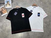 21ss Mens Tee T Футболки Paris Poker Вышивка буквы мужчин Одежда мужская одежда с короткими рукавами Мужские рубашки бирки буквы новых черных белых 09