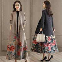 Women's Trench Coats Autumn Suede Print Coat Women Long Elegant Outwear Female Overcoat Cardigan With Belt Windbreaker Abrigo Mujer R761