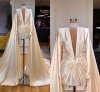 Vestido de noite curto 2021 pura pescoço de manga comprida pérolas marfim cetim Dubai Árabe mulheres vestidos formal com xale Ruched ocasião especial desgaste Al9348