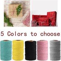 2mm * 100M Cuerda de Cuerda de Cuerda de Cuerda de Cuerda Colorida Mano Colorida Hilo Hilo DIY Cable de Textil para Partido Decoración de la Boda
