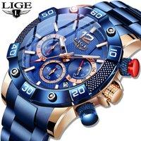 LIGE - Montre à quartz pour hommes, nouvelle mode, bleue, marque de luxe de luxe, horloge sportive, chronographe, étanche, 2021