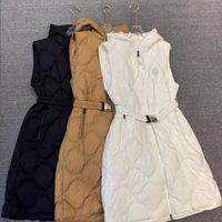 INS Fashion Women Long Down Jackets Coat Baroque Belt Designer Parkas Jacket Birthday Gift for Wife Brand Coats