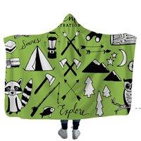 Camper Çocuklar için Piknik Kapüşonlu Battaniyeler Yumuşak Sıcak Kamp Araba Kavurma Atmak Kaput Yumuşak Sıcak Sherpa Polar Battaniye Wrap DHE5209