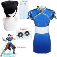 Game Street Fighter Chun-Li Costume Cosplay Chun Li Li Parrucca e Bracciale Accessori Donna e Girl Battle Dress Costume Halloween Y0903