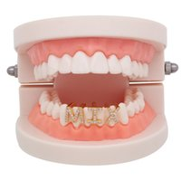 Hip Hop 26 Letters Gold Color Teeth Grillz Iced Out Rhinestone Grills For Women Men Fashion Tooth Cap Punk Teeth Jewery Party