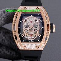 Swiss RM052 Rose Gold Diamant Schädel Herrenuhr Luxus Uhren Automatische Saphhire Kristall 2 Farben Top