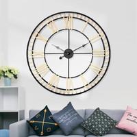 원피스 dropshipping 유럽 스타일 금속 원형 큰 벽 시계 크리 에이 티브 아이언 시계 홈 거실 80cm