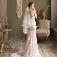 V818 Elegant Bridal Veil 2-Layer Soft Tulle Lace Edge Wedding White Headdress with Hair Comb for Bride 70cm 90cm*150cm