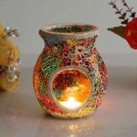 Candle Holders Holder Wedding Living Room Decoration Glass Mosaic Candlestick Essential Oil Fragrance Scent Lamps Furnace