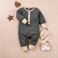 ملابس الطفل زر الرضع صبي السروال القصير كم طويل الوليد فتاة حللا بلون مغاير الأطفال ارتداءها الطفل بوتيك الملابس DWC6573