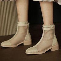 Boots AGODOR Summer Ankle Booties For Women Cut Out Zipper Square Mid Heel Shoes Hollow Size 34-43