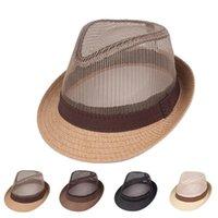 Wide Brim Hats Men Classic Mesh Trilby Fedoras Panama Jazz Hat Sun Summer Short Band Bowler Cap