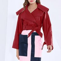 Women's Leather & Faux Autumn Pu Women Short Coat Fashion Slim Big Lapel Collar Patchwork Solid Loose Red Black Motorcycle Jackets Ladies