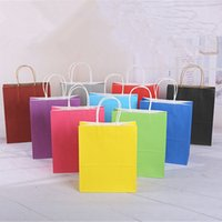 Vendita all'ingrosso! 10 colori Blank Shopping Bags Maniglia Kraft Paper Sacchi multifunzione Sacchetto di carta morbido Multibunction Festival Regalo Packaging Bag A12