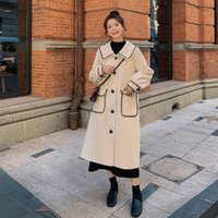 Women's Wool & Blends Korean Style Loose Oversized X-Long Trench Coat Double-Breasted Belted Lady Cloak Windbreaker Spring Fall Outerwear