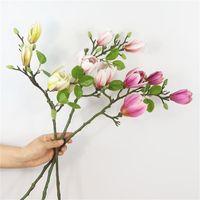 الزخرفية إكليل الزهور الفاخرة الاصطناعي ماغنوليا زهرة فرع للمنزل الزفاف الدي الديكور وهمية حديقة ديكور فلوريس