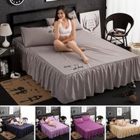 Bedding Sets Fashion Flowers Pattern Bed Skirt One Layer Frilly Ruffles Sanding Bedspread Flower Print 1 3pcs Cover Pillowcase