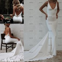 Flexible Crepe stain Mermaid Wedding Dresses 2022 simple backless sweep train bohemian country beach modest bridal gowns