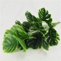 50 cm 18fork Gran planta artificial de plástico de hojas de tortuga de plástico Fake Monstera Branch Tropical Green Plant para Bonsai Decoración interior 715 K2