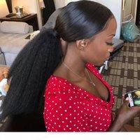 Kinky Droit Poneytail pour Femmes Naturels Yaki Yaki Remy Clip Cheveux à Pony Tails Deux peignes soufflent Extension des cheveux humains