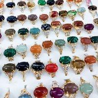 شكل بيضاوي الحجر الطبيعي الدائري 100 قطعة / الكثير مع مجوهرات مربع السائبة الكريستال والمجوهرات بالجملة