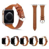 Slim Leather Strap For Apple Watch Series 6 5 4 SE Bands Fashion Wristbands Bracelet iwatch 44mm 42mm 40mm 38mm Watchband Smart Accessories