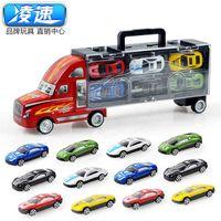 دييكاست اكسبريس اطفال حاوية السيارات لعبة مع 6-12 سبيكة سيارة نموذج كبير الأولاد هدية مجموعة