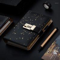 Notepads Kawaii A6 Diary Notebook Journal Star Handbook Spiral Note Book DIY Agenda Lock Binder Business Notepad Gift Set+Pen+Tape1