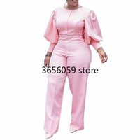 Ethnic Clothing Summer Autumn Dashiki African Women Sexy O-Neck Jumpsuits Pink Elegant Casual Female One Pieces Rompers Africa