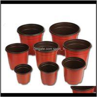 Double Color Flower Pots Plastic Red Black Nursery Traplant Basin Bacino Instubbrible Flowerpot Home Plantatori da giardino Forniture da giardino 0 17HY7 BB DP7 B61I5