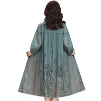 Women's Trench Coats High-end Embroidery Plus Size Windbreaker Mid-Long Thin Hollow Coat Female Tops 2021 Summer Mother Sunscreen Clothing