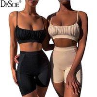 Två styck klänning dpsde 2021 sommar kvinnor mode sexig rättvis maiden stil ärmlös kondolebälte korta topp elastiska byxor uppsättningar