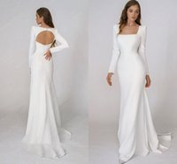 Gorgeous Simple Beach Mermaid Wedding Dresses Square Stain Square Neck Long Sleeve Backless Bohemian Bridal Dress Robes