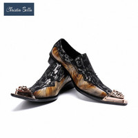 Christia Bella Classic Sapato الاجتماعية Masculino أنيقة الأزهار الرجال اللباس أحذية الذهب الصلب تو متعطل دعوى التحويل مكتب الأحذية براون S 32JR #