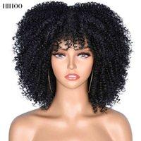 """짧은 머리 곱슬 곱슬 한 곱슬 아프리카 여성 10 """"합성 아프리카 glueless 코스프레 열 저항 가발 hihoo"""