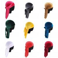 12 색 고급 유니섹스 벨벳 Durags Bandana Turban 해적 모자 가발 Doo Durag Biker Headwear 머리띠 해적 모자 헤어 액세서리 257 R2